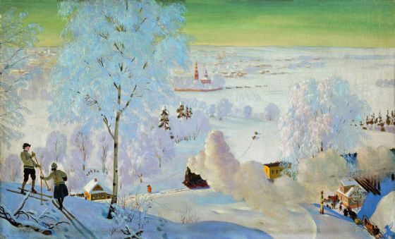 Kustodiev, Boris: Skiers. Fine Art Print/Poster. Sizes: A4/A3/A2/A1 (002193)